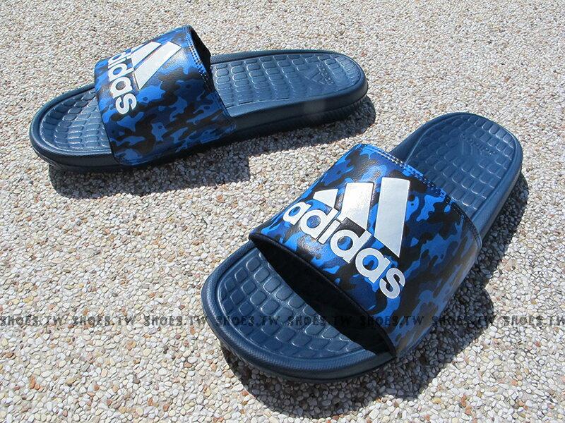Shoestw【AQ2575】ADIDAS VOLOOMIX SLIDE 拖鞋 藍迷彩 大LOGO 男生尺寸