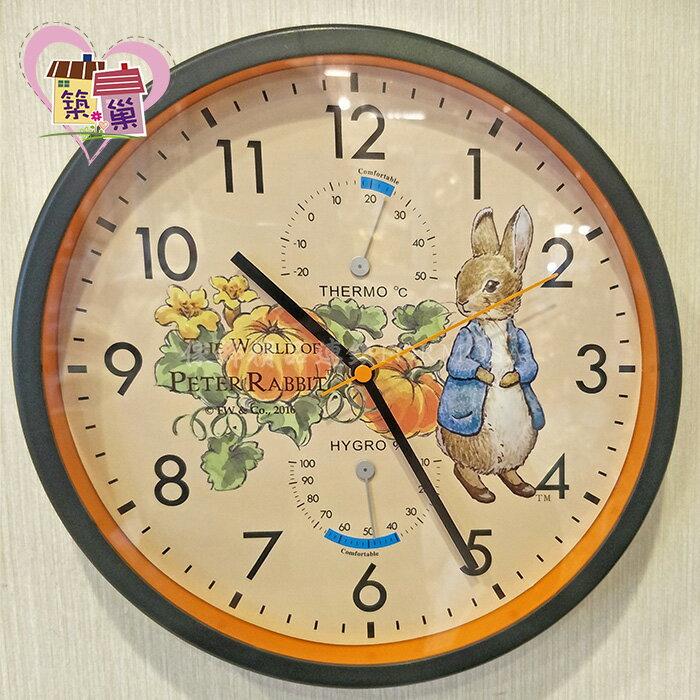 《正版授權》 Peter Rabbit 彼得兔南瓜溫度濕度靜音時鐘 可愛現代風牆面掛鐘客廳房間壁鐘 【築巢傢飾】