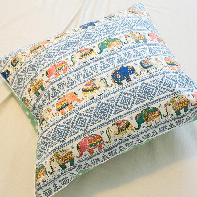 印度風大象抱枕 45cmx45cm 精選素材 復古 純棉