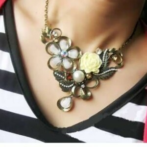 美麗大街【GX0231】 歐美復古風 立體玫瑰花帶鑽珍珠奢華項鍊