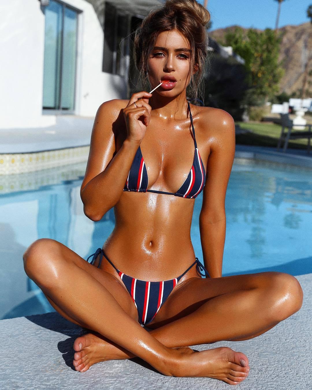 ANK114 歐美新款海軍風條紋綁帶性感丁字比基尼兩件式泳衣泳裝 附胸墊