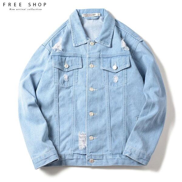 FreeShop破壞設計寬鬆落肩單寧破洞牛仔外套淺藍色大尺碼男女可穿可當情侶外套【QCEQ03001】