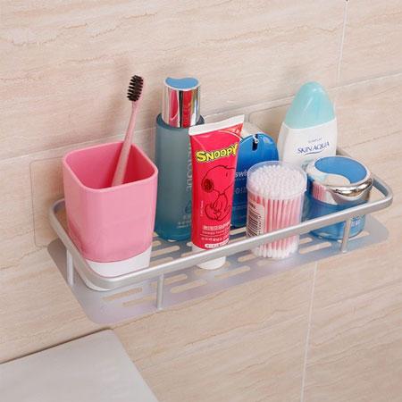 無痕貼系列 多功能加長型置物架 浴室置物架 廚房 太空鋁 壁掛式 無痕 收納架 整理架 置物架 置物籃【B062560】