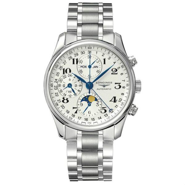 LONGINES浪琴表L26734786巨擘全日曆月象多功能計時腕錶白網紋面40mm