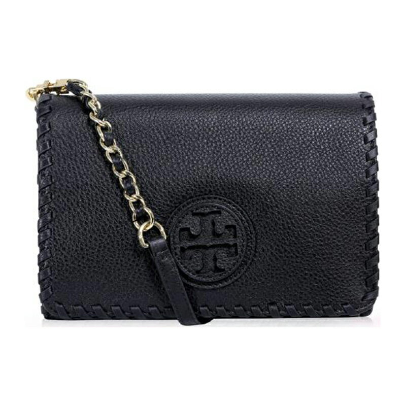 <br/><br/>  TORY BURCH 31149790 MARION COMBO CROSS-BODY 黑色織邊皮革斜背方包<br/><br/>