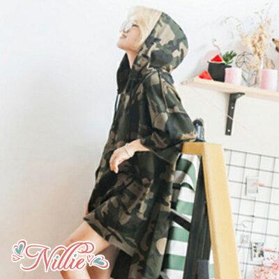 Nillie‧迷彩七分寬袖連帽連身裙08/30(綠)【N89058】