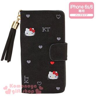 〔小禮堂〕Hello Kitty iPhone6/6s麂皮掀蓋式裝飾殼《刺繡.黑.大臉.愛心》完整包覆
