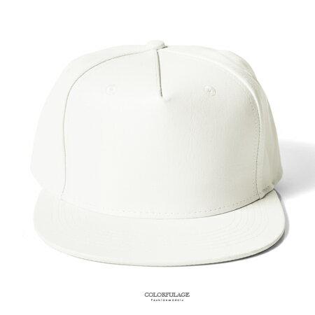棒球帽 純白色系休閒皮革帽沿平板帽 出門 好 素色單品 柒彩年代~NH213~簡單就是有型