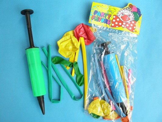 氣球打氣筒+混裝氣球/一小包入{促30}~NG商品~