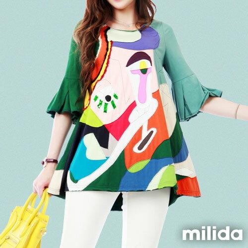 【milida】MMRYDP031☆五分喇叭袖甜美洋裝 5