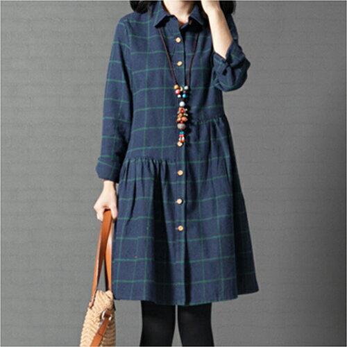 全店65折滿$599免運 寬鬆格子純棉襯衫裙洋裝 (2色,M~2XL) - ORead 自由風格 1