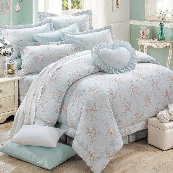 床罩組PIMA匹馬棉雙人400織七件式兩用被床罩組柔之花藍[鴻宇]台灣製2018