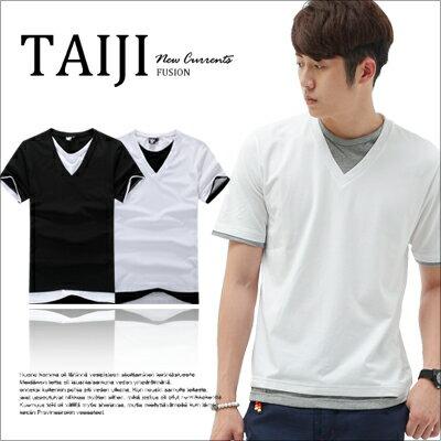 TAIJI【NF1589】日韓風格層次拼接假兩件素面V領短袖上衣三色條紋/設計/美式/民族