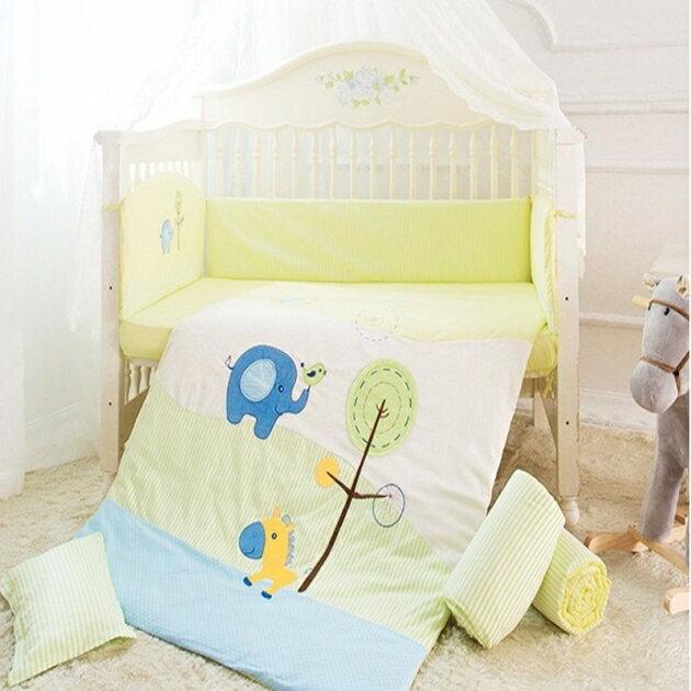 床圍八件組 嬰兒床組 貼布刺繡八件套