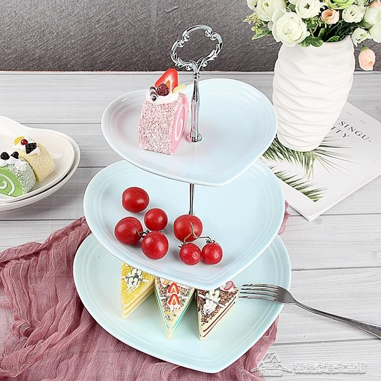 瓷江湖歐式陶瓷三層水果盤甜品臺多層蛋糕架乾果盤茶點心生日托盤  概念3C