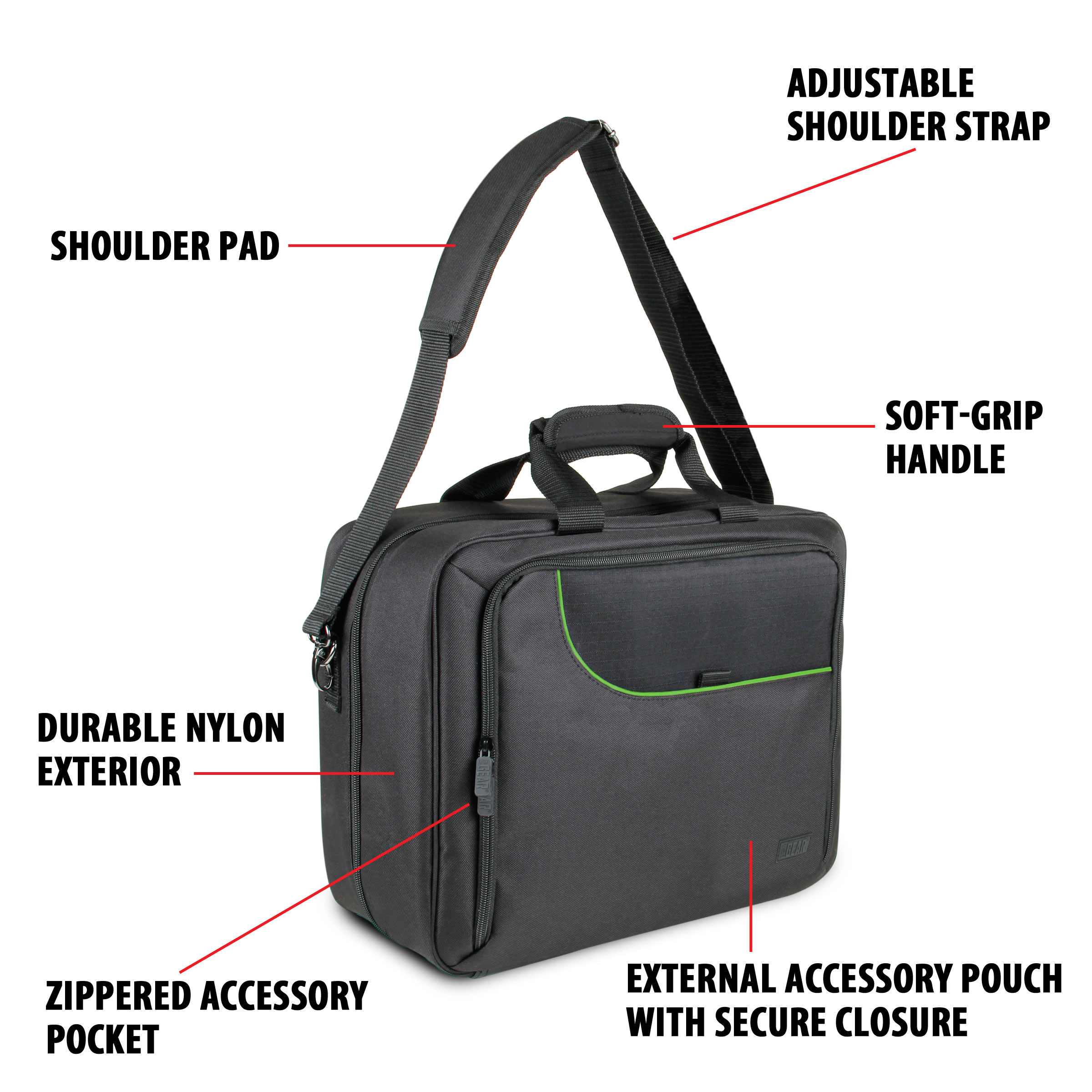 Xbox One Travel Carrying Case with Kinect Pouch , Shoulder Strap , Game Pockets & Accessory Pockets 4