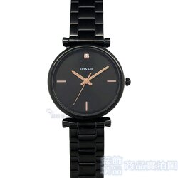 FOSSIL手錶 ES4442 真鑽 玫瑰金指針 IP黑鋼帶女錶 全新正品【錶飾精品】