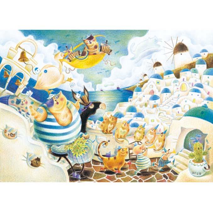 520片拼圖 Iris色鉛筆系列:希臘~貓咪天堂