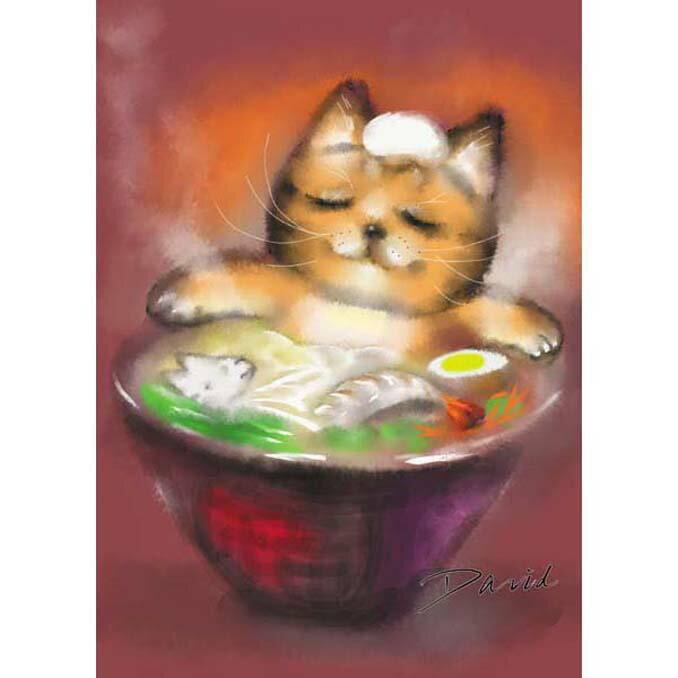 108片拼圖 大衛畫貓系列-溫泉拉麵貓