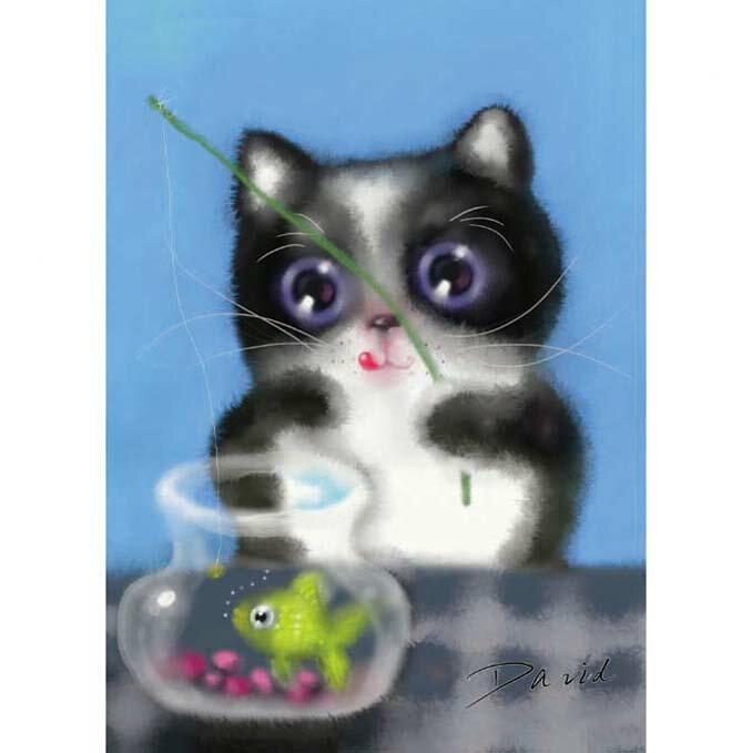 108片拼圖 大衛畫貓系列-釣魚貓