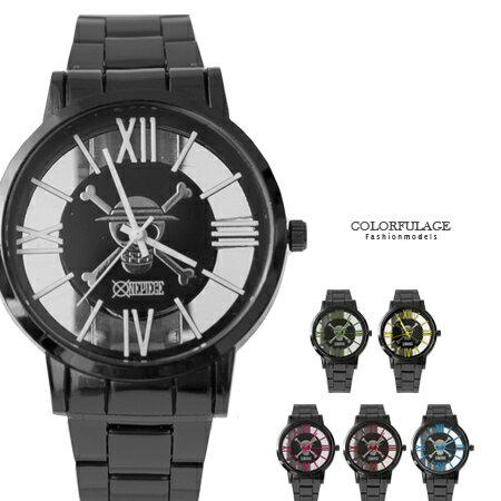 One Piece 海賊王 全黑錶殼繽紛羅馬數字鏤空手錶 中性款 禮物首選 柒彩年代【NE1625】原廠平行輸入