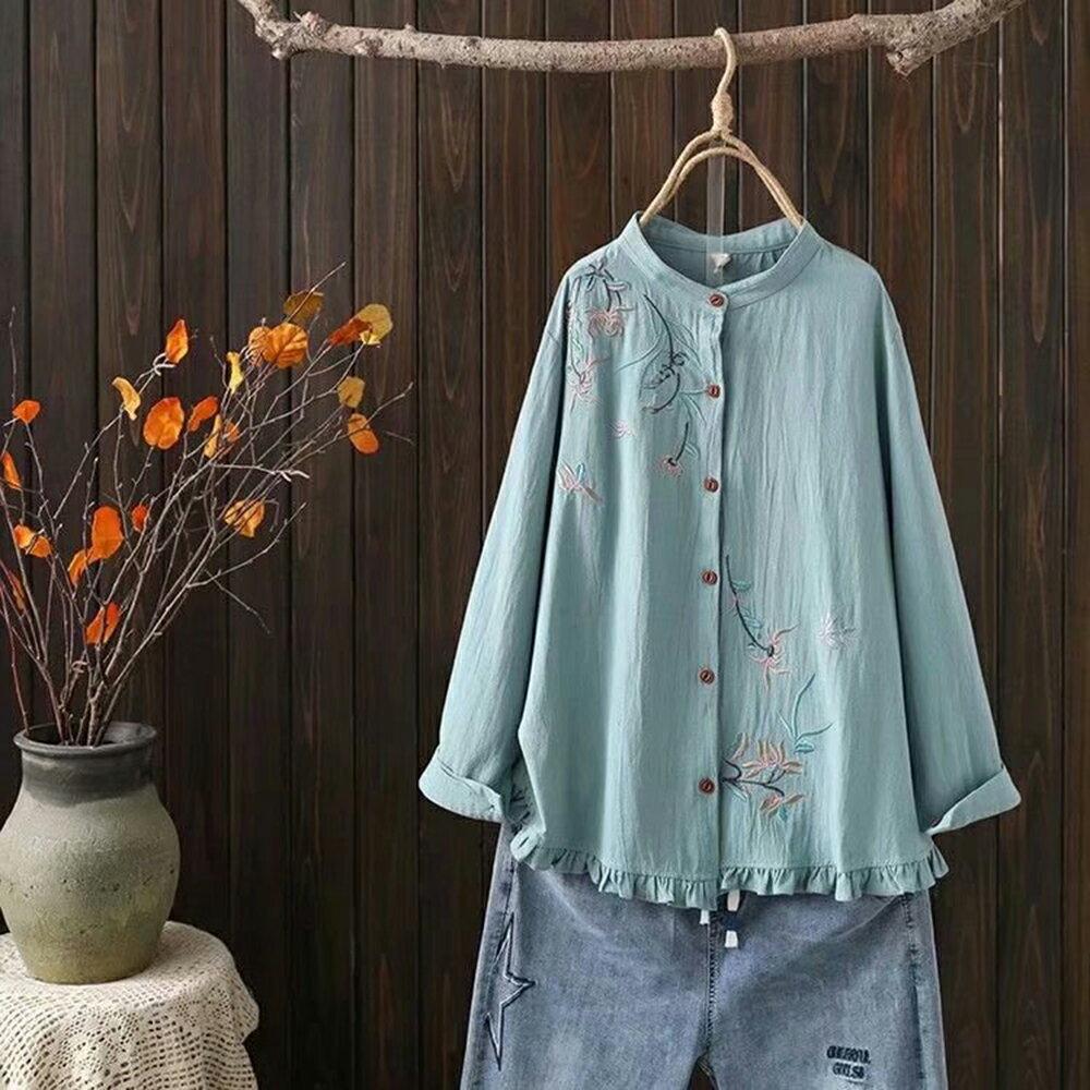 立領刺繡花木耳花邊下擺寬鬆長袖襯衫(3色XL~4XL)*ORead* 0