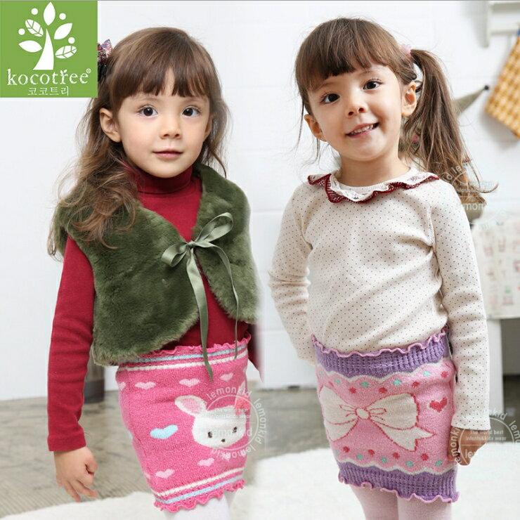 WallFree窩自在★可愛小兔蝴蝶結毛線針織包裙兒童護肚保暖包臀裙