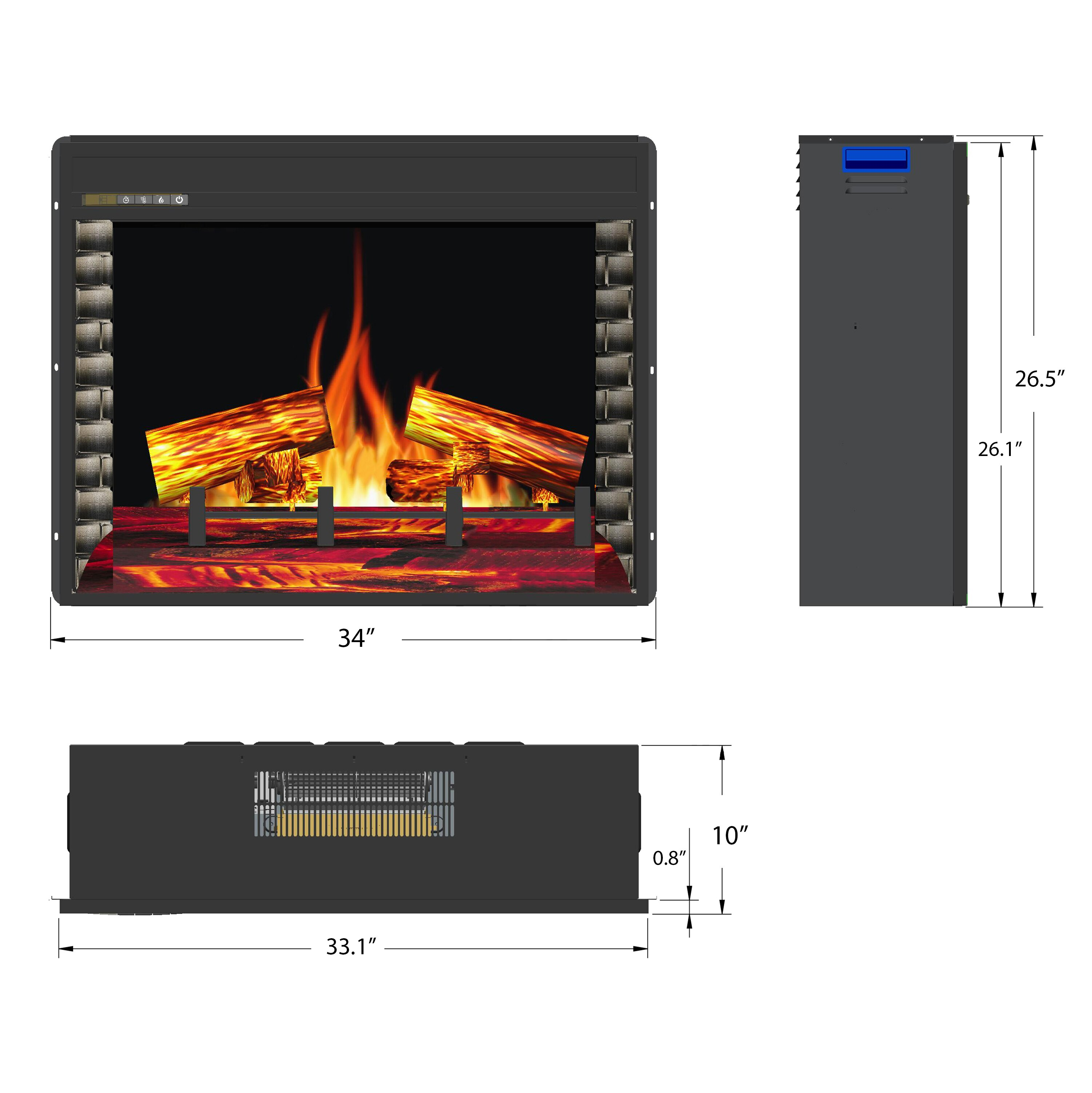 "AKDY 33"" Freestanding Insert 3D Flame Log Fuel Bed Electric Fireplace Heater Stove 1"