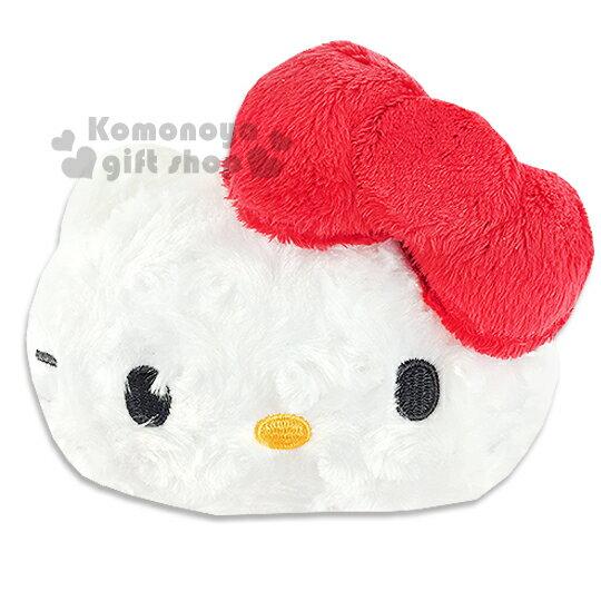 〔小禮堂〕Hello Kitty 造型絨毛票夾零錢包《紅蝴蝶結.大臉型》伸縮掛勾