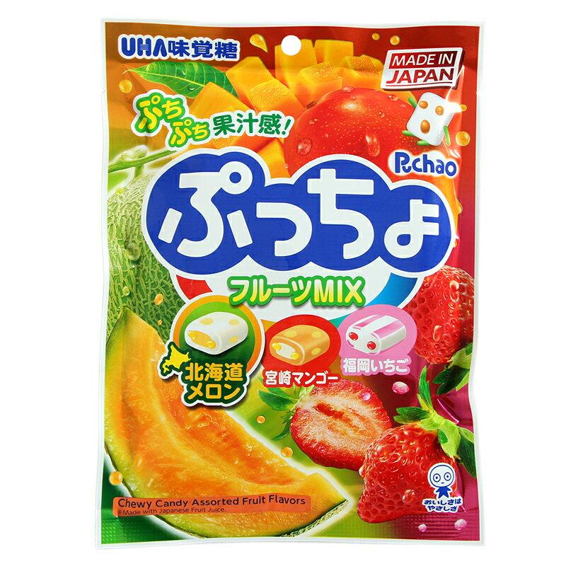 【UHA味覺糖】 Puccho噗啾3種類軟糖-綜合水果 90g 哈密瓜 / 芒果 / 草莓 日本進口糖果 3.18-4 / 7店休 暫停出貨 1