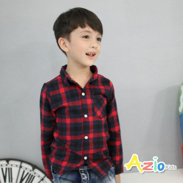《Azio Kids 美國派 童裝》襯衫 大格紋配色單口袋長袖襯衫(紅)