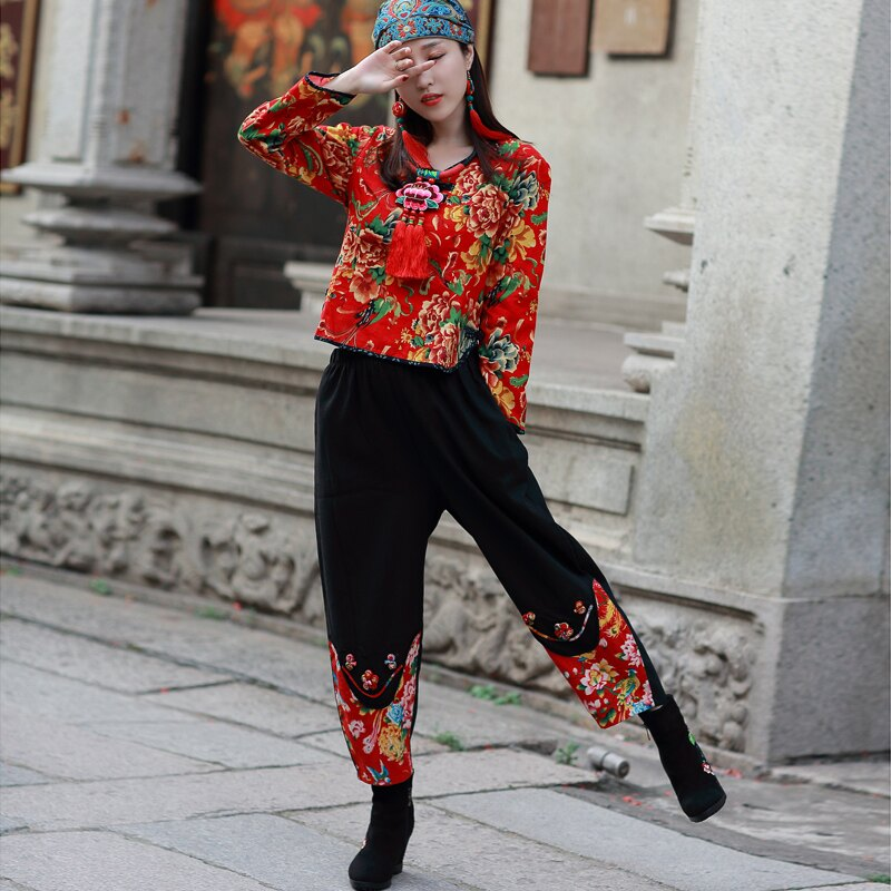 春裝民族風復古印花長袖襯衣+小腳褲休閑兩件套裝中年媽媽裝1入