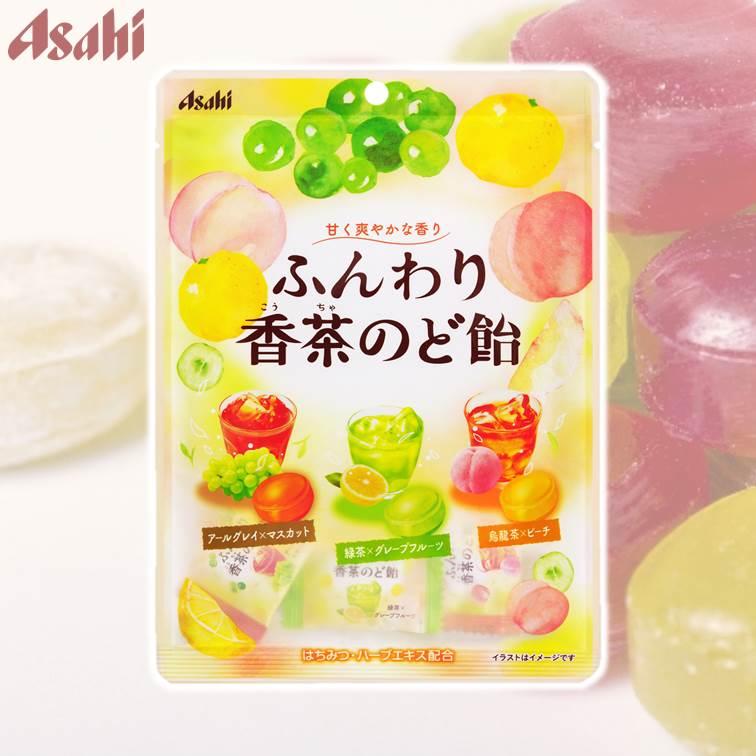 【Asahi朝日】 綜合水果茶香喉糖-白葡萄紅茶/葡萄柚綠茶/白桃烏龍茶 79g ????香茶??飴