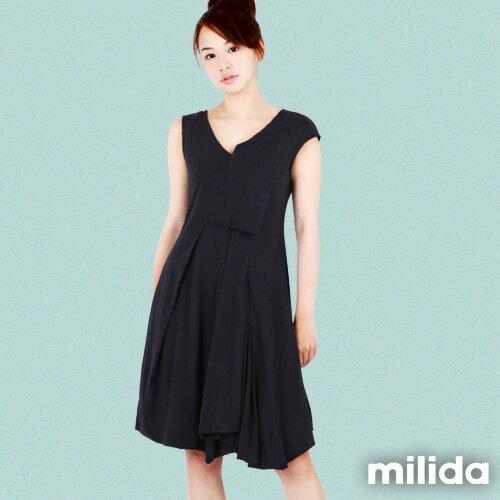 【Milida,全店七折免運】-夏季洋裝-無袖款-百搭V領百摺款 0