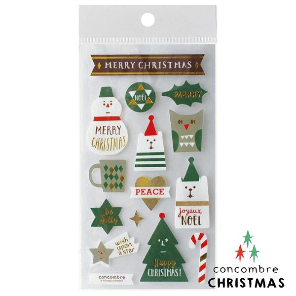 【聖誕節限定版】Decole 日本裝飾貼紙 / 聖誕卡素材 -  Concombre 白熊與雪人 ( ZXS-48102 )