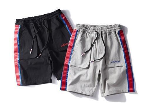 FINDSENSE MD 韓國 時尚休閒 潮 男 寬鬆 鬆緊腰 側邊撞色條紋織帶 休閒短褲 五分褲 運動短褲