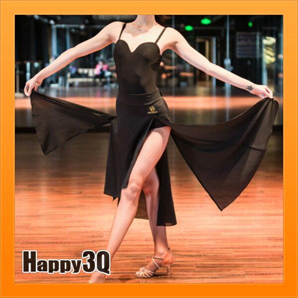 拉丁舞裙長裙開岔下擺雪紡裙子繫帶裙子綁帶裙國標舞跳舞服裝-S-L【AAA3979】