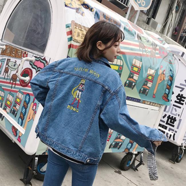 50%OFF SHOP【G022057C】實拍~春季新款Chic復古後背美少女戰士卡通刺繡牛仔外套