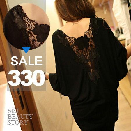 SISI【T5021】美背焦點 性感露背鏤空皮革雕花蝙蝠袖長版上衣 寬版連身裙洋裝