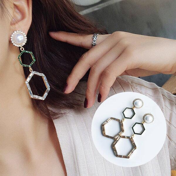 77美妝:幾何六邊形復古珍珠拚鑽耳環MISS9256