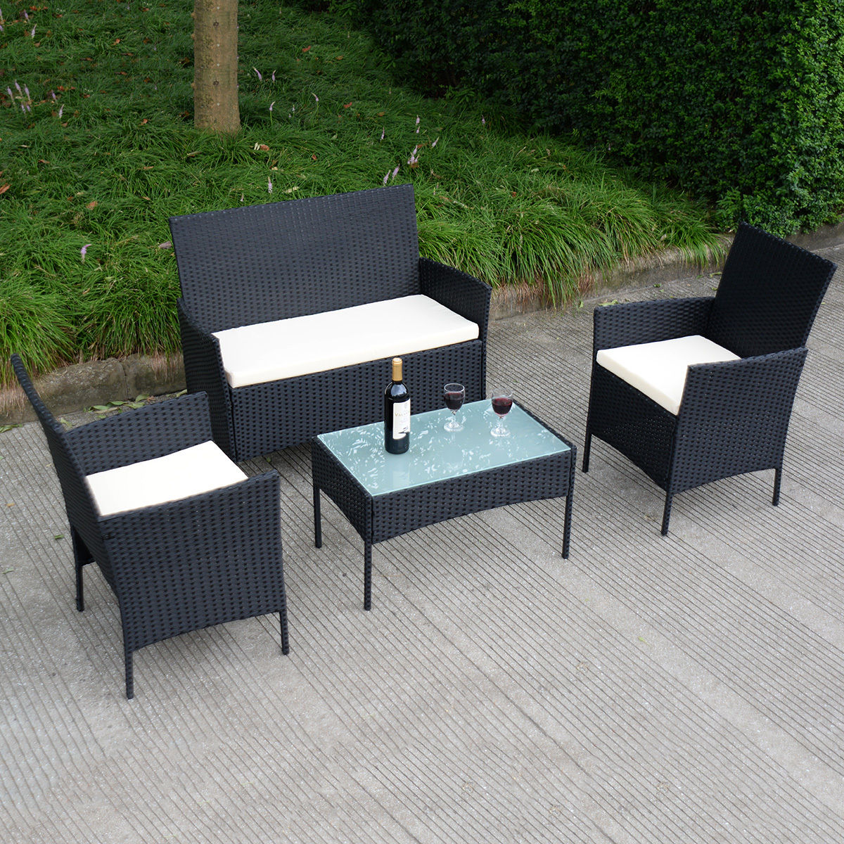 Costway | Rakuten Costway 4 PC Outdoor Rattan Furniture Set Loveseat Sofa Cushioned Patio ...
