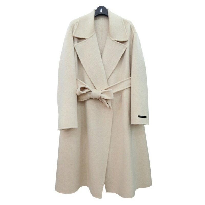 毛呢大衣羊毛外套-長版純色翻領寬鬆女外套2色73wb46【獨家進口】【米蘭精品】 0
