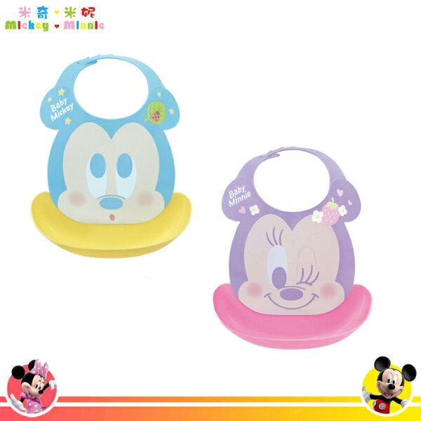 日本製迪士尼米奇米妮嬰兒防漏圍兜兜可拆式雙層防水口袋圍兜日本進口正版316933