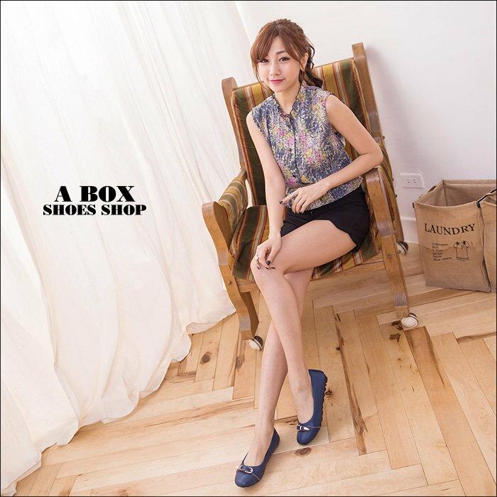 【KI3827】MIT台灣製 金屬釦環 乳膠墊舒適柔軟 圓頭包鞋 大豆豆底 娃娃鞋 2色 1