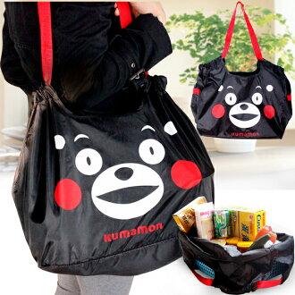 vivi shop 迎春特惠 日本原單熊本熊購物袋 吉祥物部長熊本熊kumamon大號購物袋 手提包 斜背式 收納袋(耐重約8kg)