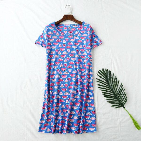 【中大尺碼】夏日必備西瓜我愛你短袖居家服睡裙特大碼女裝休閒寬鬆連身裙