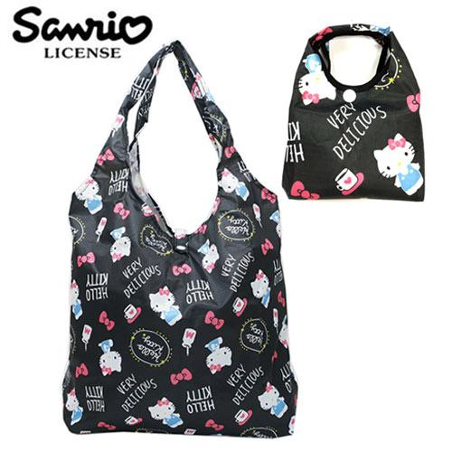 深灰款【日本正版】凱蒂貓 摺疊 購物袋 環保袋 手提袋 防潑水 Hello Kitty 三麗鷗 Sanrio - 451271