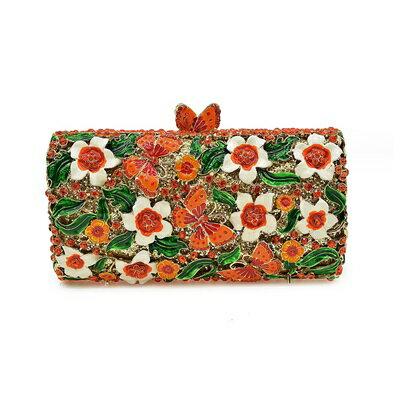晚宴包鑲鑽手拿包-精美別緻花蝴蝶亮麗女包包3色73su50【獨家進口】【米蘭精品】