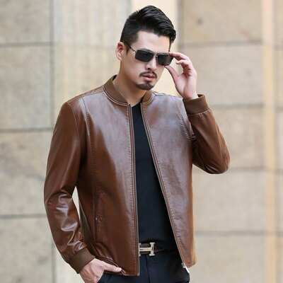 皮衣夾克外套-冬季立領純色短款男夾克4色73pn11【獨家進口】【米蘭精品】 0