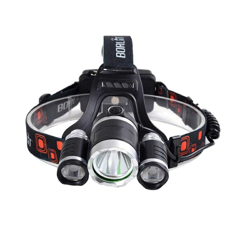 三合一頭燈強光高亮礦燈充電式戶外T6釣魚頭燈頭戴式手電筒釣魚燈 全館限時8.5折特惠!